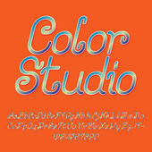 Beautiful colorful curly font italic type Isolated english alphabet of capital and lowercase letters with numbers and punctuation marks Color Studio text lettering