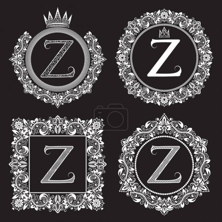 Illustration for Vintage monograms set of Z letter. Heraldic coats of arms in wreaths, round and square frames. White symbols on black. - Royalty Free Image