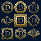 Vintage monograms set of D letter Golden heraldic logos in wreaths round and square frames
