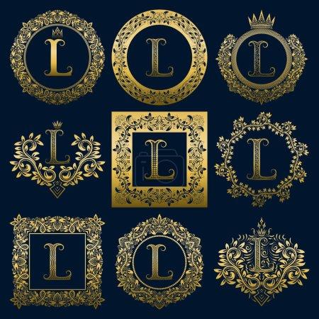 Monogrammes vintage ensemble de lettre L. Logos héraldiques dorés dans des couronnes, des cadres ronds et carrés .