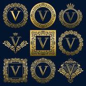 Vintage monograms set of V letter. Golden heraldic logos in wreaths, round and square frames.