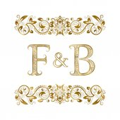 F and B vintage initials logo symbol The letters are surrounded by ornamental elements Wedding or business partners monogram in royal style