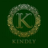 Golden logo template for kindly boutique Vector monogram