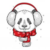 Cute panda in the New Year with headphones Vector illustration Christmas and New Year