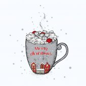 A beautiful New Year's cup with a winter city Lovely houses and a cup with cocoa and marshmallows New Year's and Christmas Vector illustration for a postcard or a poster
