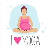 Vector illustration Set of Yoga poses for Pregnant women