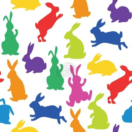 Illustration for Seamless pattern with silhouettes of bunnies in rainbow colors made in vector - Royalty Free Image