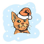 Red cat in the Santa hat Vector Christmas