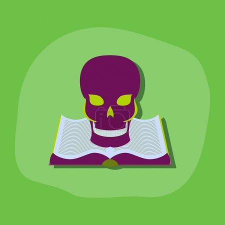 paper sticker on stylish background book skull