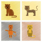 assembly flat shading style icons cartoon panther tiger leopard