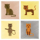 Assembly flat shading style icons of cartoon panther tiger leopard