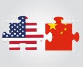 USA a Čína vztah konceptuální ilustrace. Příznaky Spojené státy a Čína jako kousky puzzle
