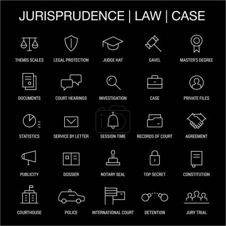 Jurisprudence. Law. Case. Icons set. Thin lines. White on black.