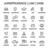 Jurisprudence Law Case Icons set Thin lines Black on white