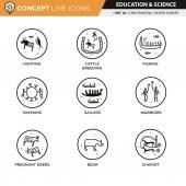 Concept Line Icons Set 16 Cave art