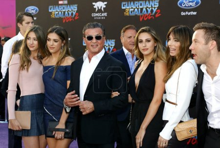 Photo for Michael Rosenbaum, Sylvester Stallone, Scarlet Rose Stallone, Sistine Rose Stallone, Sophia Rose Stallone, Jennifer Flavin and Frank Stallone at the Los Angeles premiere of 'Guardians Of The Galaxy Vol. 2' held at the Dolby Theatre in Hollywood, USA - Royalty Free Image