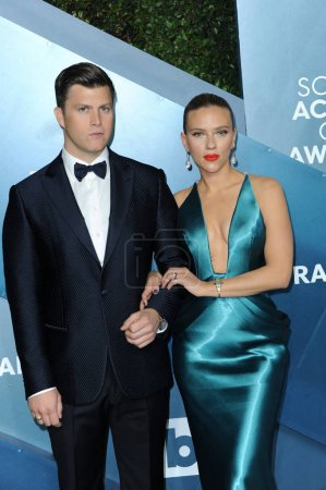 Photo for Scarlett Johansson and Colin Jost at the 26th Annual Screen Actors Guild Awards held at the Shrine Auditorium in Los Angeles, USA on January 19, 2020. - Royalty Free Image