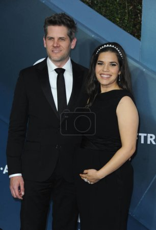 Photo for Ryan Piers Williams and America Ferrera at the 26th Annual Screen Actors Guild Awards held at the Shrine Auditorium in Los Angeles, USA on January 19, 2020. - Royalty Free Image