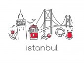 Modern vector illustration Istanbul with hand drawn doodle turkish symbols: Bosphorus bridge tea glass simit bagel Galata tower tulip tram Minimal design with black outline isolated on white