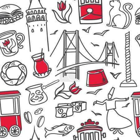 Illustration pour Modèle vectoriel sans couture Istanbul. Symboles de gribouillage dessinés à la main avec contour noir et couleur rouge sur fond blanc. Conception de ligne claire moderne pour l'impression touristique, toile de fond, papier d'emballage ou papier peint . - image libre de droit