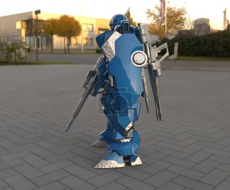 Photo for Sci-fi mecha soldier standing. Military futuristic robot. Mecha controlled by a pilot - Royalty Free Image