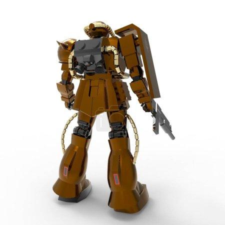 Sci-fi mecha soldier standing. Military futuristic...