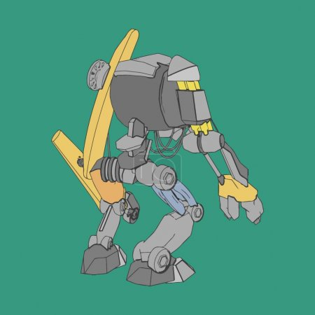 Vector illustration. Mecha in isolated background....