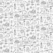 Seamless background hand drawn doodle Fishing icons set Vector illustration fishing equipment elements collection Cartoon fishing concept Fishing rod Baits Spinning Fishing lure Fish Fishing boat