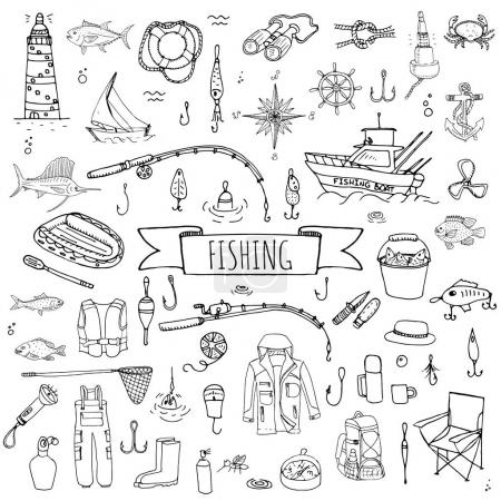 Hand drawn doodle Fishing icons
