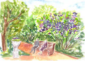 Park, nature, outdoor.  Hand drawn sketch. Vibrant watercolor painting. Colorful artwork Watercolour landscape with trees and bushes. Aquarelle bright illustration. Summer view.People sitting on bench
