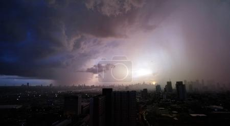 Photo for Cloudy sky ,storm rain and sunset view from high build, Bangkok city,Klongtoey area in August 2017 - Royalty Free Image