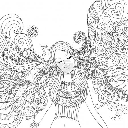 Girl listen to music adult coloring book