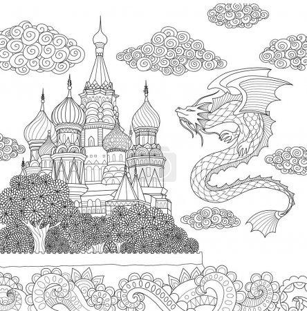 flying Dragon above castel
