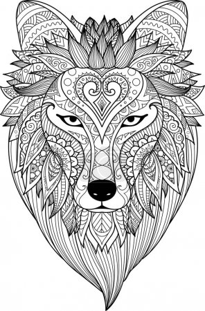 Zendoodle stylize of dire wolf for tattoo, T-Shirt design, mug design,adult coloring book page and other design element