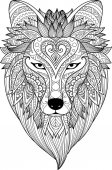 Zendoodle stylize of dire wolf for tattoo T-Shirt design mug designadult coloring book page and other design element