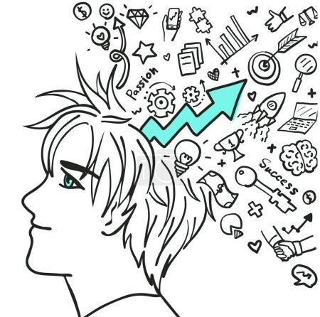 Illustration pour Jeune entrepreneur ont une vision positive dans son plan d'affaires, croire en votre auto. Vecteur de stock - image libre de droit