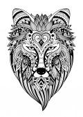 Zendoodle stylize of dire wolf for tattoo T-Shirt design mug designadult coloring book page and other design element  Stock Illustration