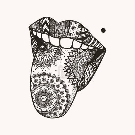 Illustration for Hand drawn mandala woman tongue out, symbol of April fools day for design element, tattoo and T-Shirt design - Royalty Free Image