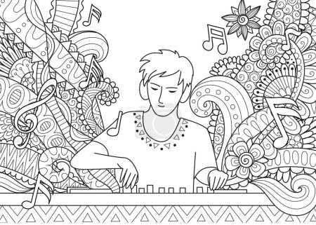 DJ playing music in music festival for adult coloring book page. Stock Vector