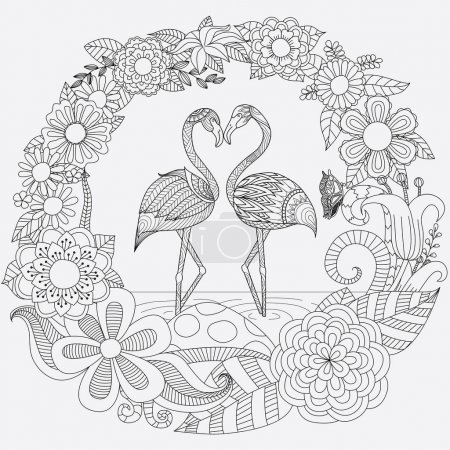 Zendoodle design of two flamingos bend their heads into heart shape in floral jungle