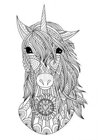 Zendoodle stylized unicorn head