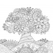 Beautiful abstract tree on floral ground for design element and adult coloring book pages. Vector illustration