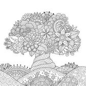 Beautiful abstract tree on floral ground for design element and adult coloring book pages Vector illustration
