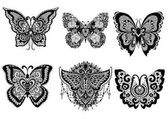 Six beautiful unique butterflies for design element like sticker tattoo t shirt design and adult coloring book page Vector illustration