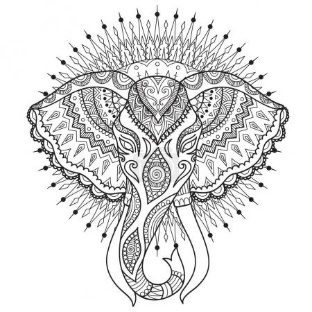 Beautiful abstract elephant head on mandala circle design for t shirt design, pront on product, adult or kids coloring book page. Vector illustration