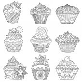 Six zendoodle design of cupcakes on white background for adult and kids coloring book page and design element Vector illustration