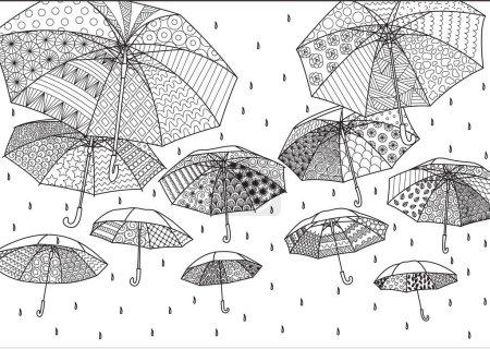 Flying umbrellas for background,illustration,card, adult or kids coloring book page. Vector illustration