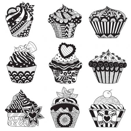 Set of zendoodle cupcakes for design element,background and other design element.