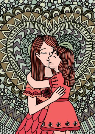Mother kissing daughter mosaic