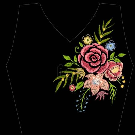 Embroidery colorful flowers like including rose,daisy beautiful vintage neck line.Vector symmetric traditional folk flowers ornament on black background for design